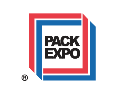 red and blue Pack Expo logo banner